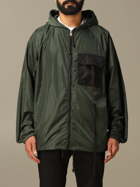 Marni nylon jacket with hood and patch pocket