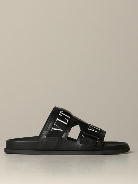 Valentino Garavani leather sandal with VLTN logo