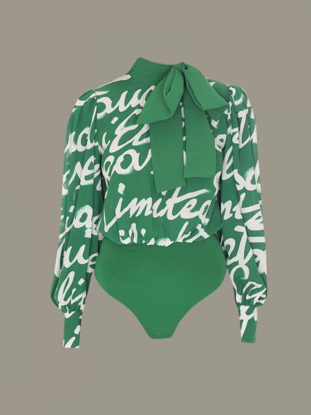 Elisabetta Franchi body with all over logo print
