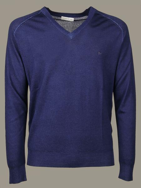 Etro v-neck sweater with embroidered logo