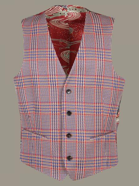 Etro checked waistcoat with printed back