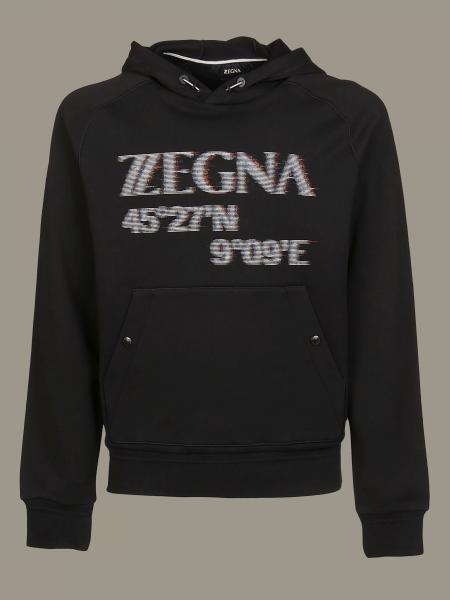 Felpa Z Zegna con cappuccio e stampa logo