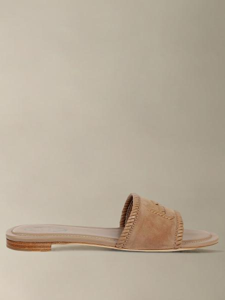 Tod's flat suede sandal with double T