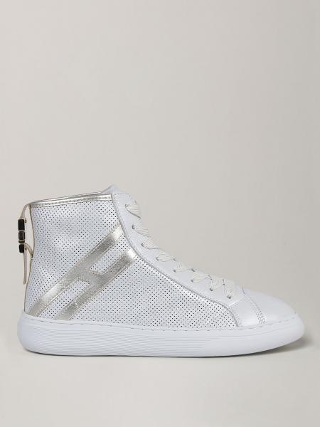 Hogan sneakers in perforated leather with laminated H