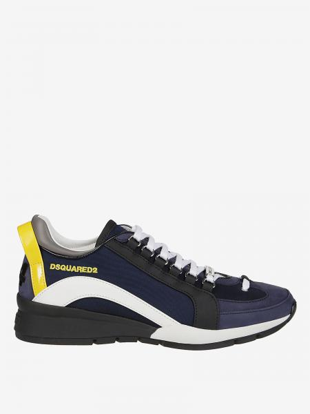 Sneakers Dsquared2 en cuir et micro filet avec logo
