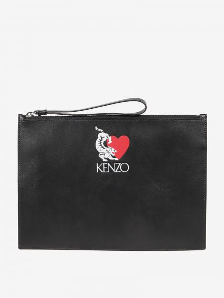 Kenzo leather clutch bag with logo