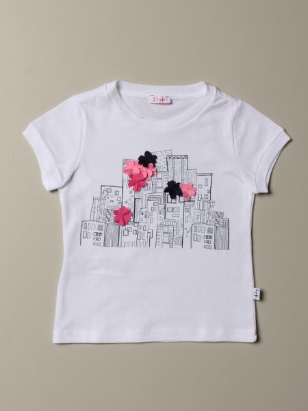T-shirt Il Gufo avec imprimé avec applications florales