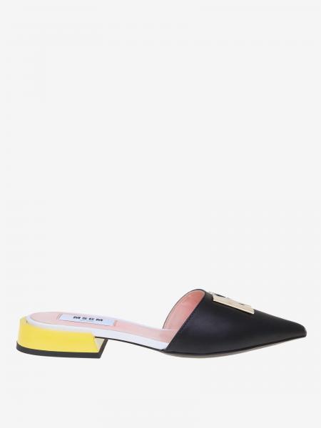 Msgm Leder Sandale mit metallischem Logo
