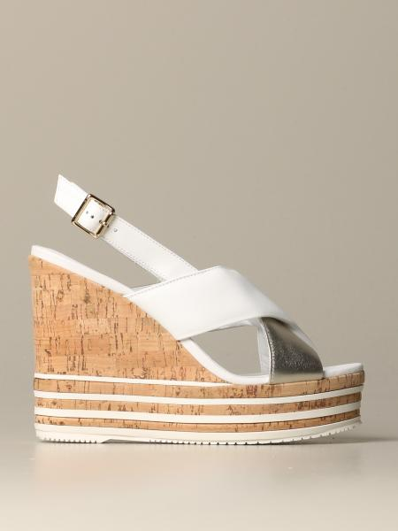 Hogan wedge sandal in smooth and laminated leather