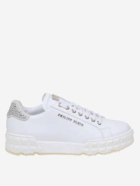 Philipp Plein leather sneakers with rhinestones