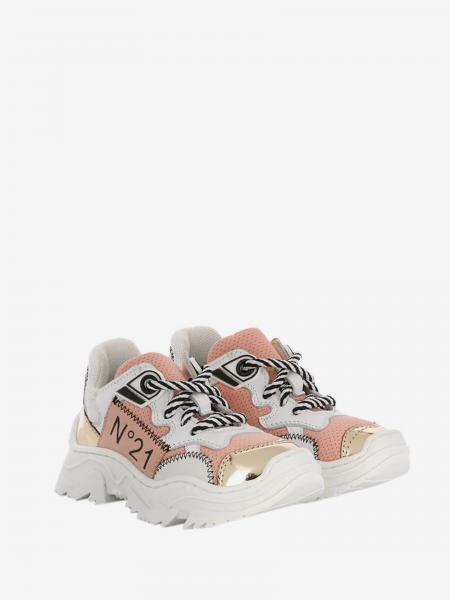 Sneakers N° 21 in pelle liscia e traforata