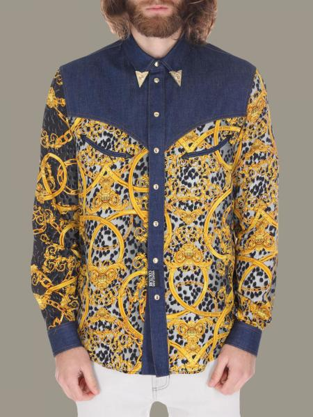 Versace Jeans denim shirt with baroque print