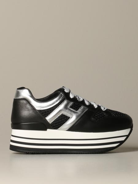 Hogan sneakers in leather and mesh with laminated H