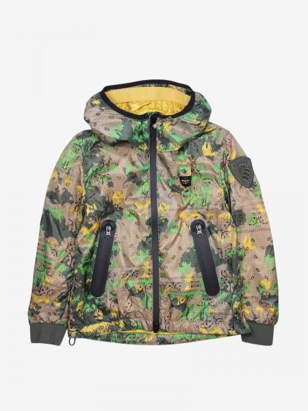 Giacca di nylon Blauer con cappuccio e zip stampa camouflage