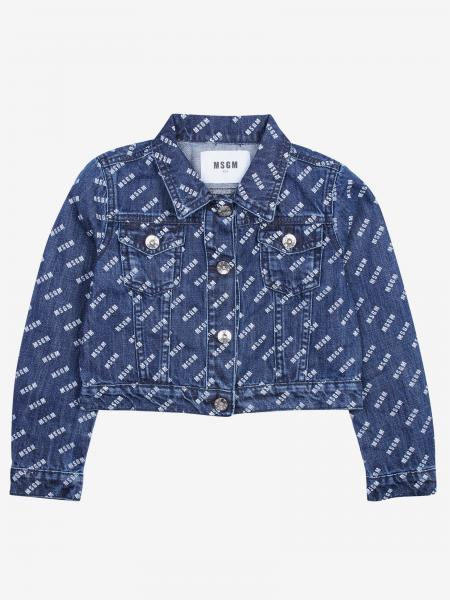 Giacca di jeans Msgm Kids con logo all over