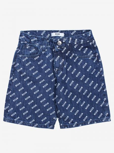 Msgm Kids Jeans Shorts mit Logo all over
