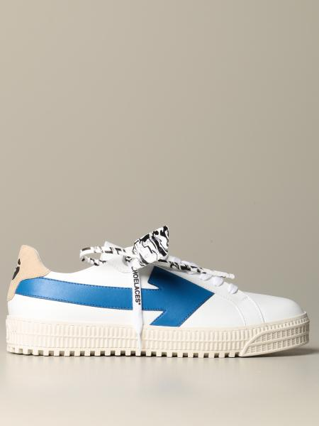 Off White men: Off White leather and suede sneakers with maxi arrow