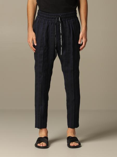 Pantalone Alessandro Dell'acqua in misto lino a righe
