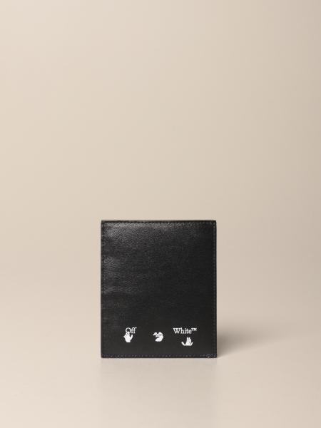 Credit card holder in Off White leather with print