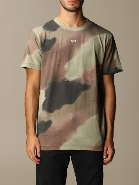 Off White men: Off White camouflage cotton t-shirt with spray-effect arrows