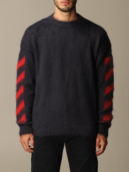 Off White men: Off White mohair pullover with big rear arrows