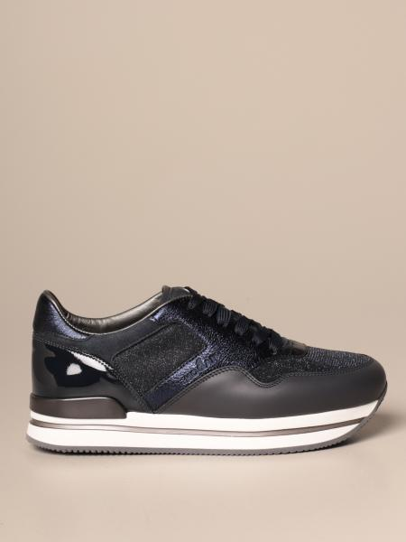 Sneakers H222 running Hogan in pelle e tessuto lurex