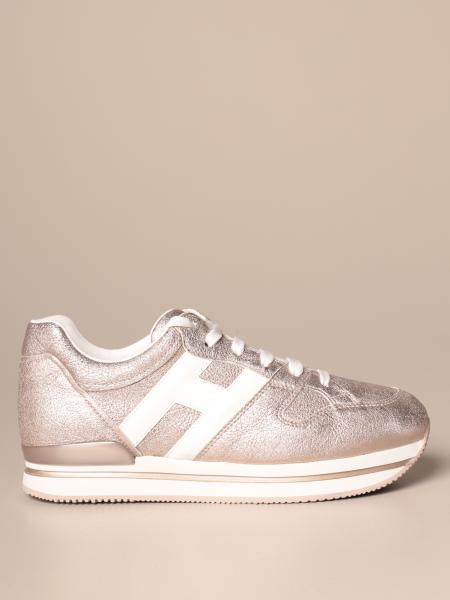 Hogan H222 running sneakers in laminated leather with rounded H