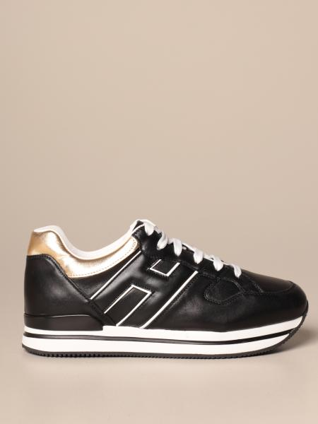 Sneakers H222 running Hogan in pelle con H piping