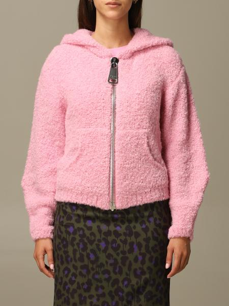 Moschino Couture hooded cardigan in bouclé with big zip