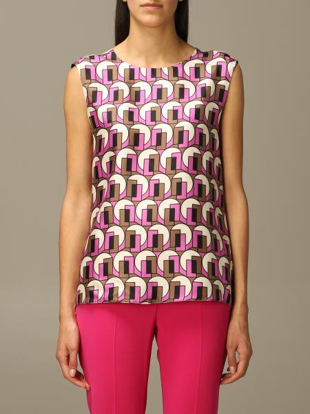 S Max Mara silk top with geometric pattern