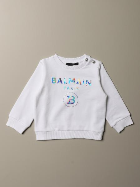 Balmain cropped sweatshirt with iridescent logo