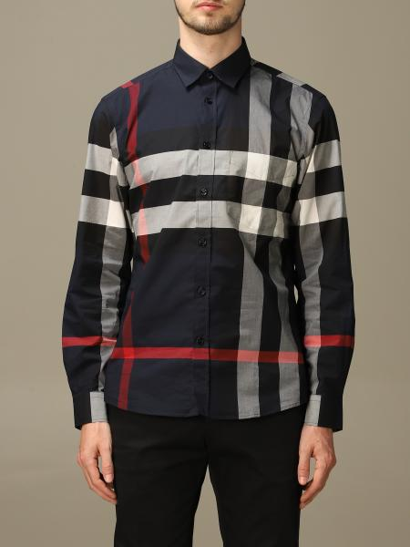 Burberry shirt in stretch cotton poplin with check pattern