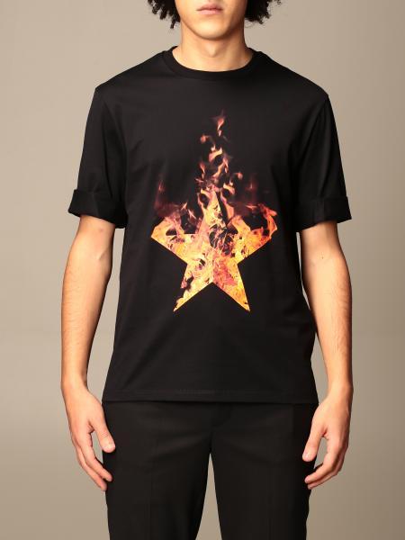 Neil Barrett: T-shirt Neil Barrett con stampa stella in fiamme