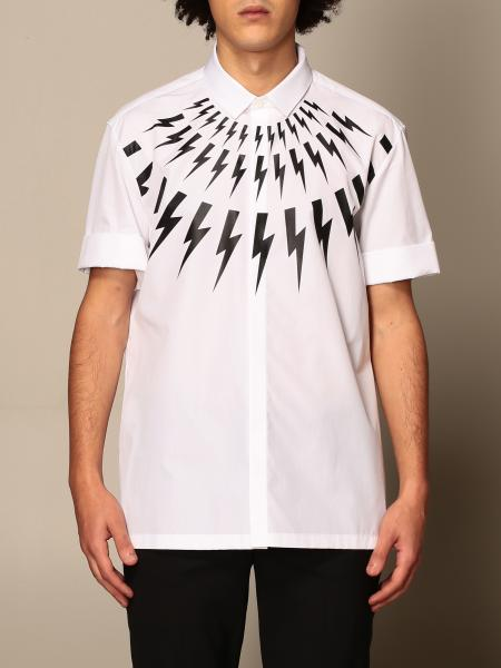 Neil Barrett: Neil Barrett short-sleeved shirt with all-over lightning bolts