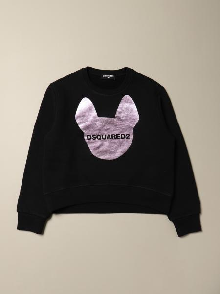Dsquared2 Junior sweatshirt in cotton with laminated print and logo