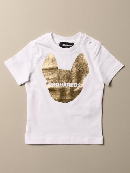 T-shirt Dsquared2 Junior in cotone con stampa laminata e logo