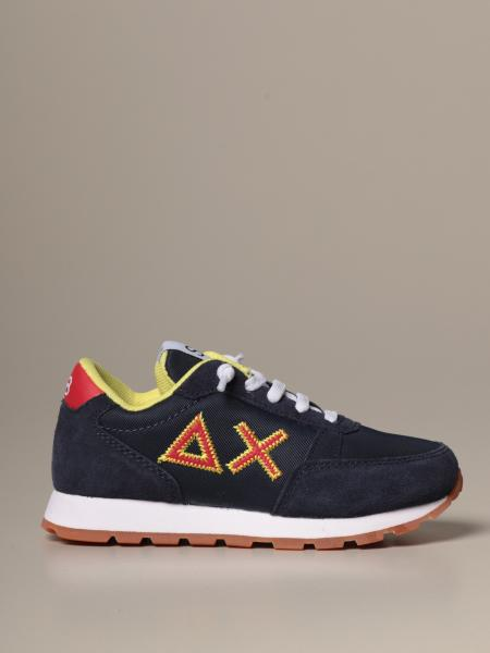 Sun 68 suede and canvas sneakers with logo