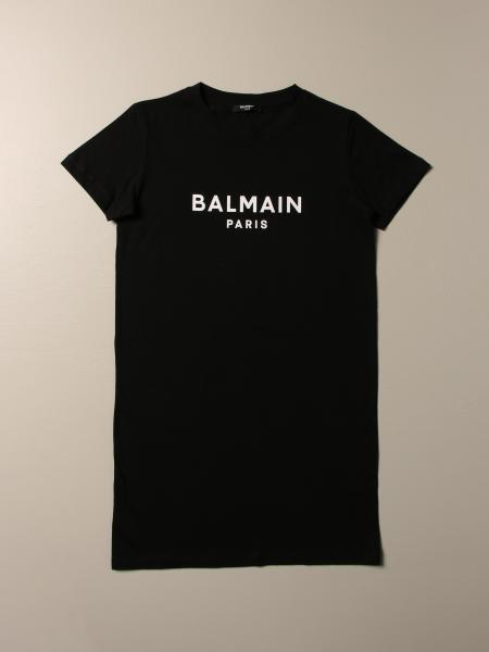 Balmain cotton t-shirt dress with logo