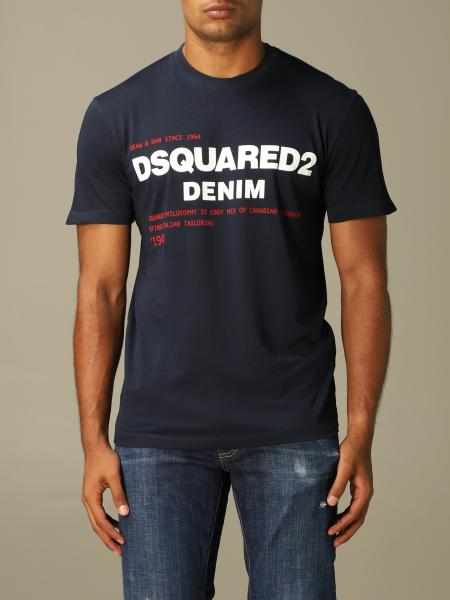T-shirt Dsquared2 a girocollo con stampa denim