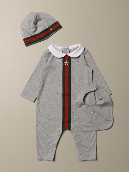 Ensemble combinaison + bonnet + bavoir Gucci en coton avec bande Web