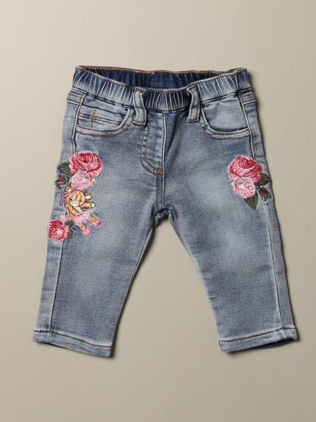 Monnalisa jeans with floral embroidery