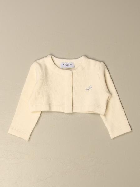 Monnalisa cropped cardigan with rhinestone logo