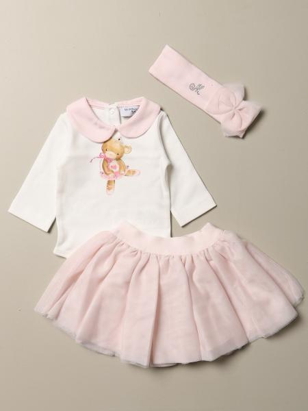 Full body + skirt + Monnalisa headband in cotton with bear