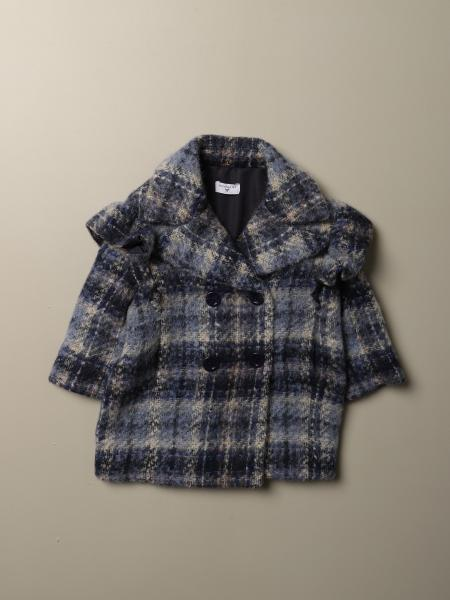 Monnalisa coat in tartan fabric with rouches
