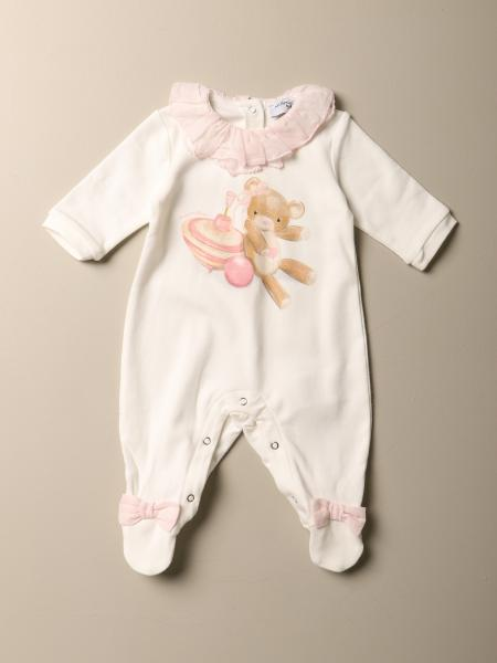 Monnalisa footed jumpsuit in cotton with teddy bear