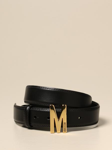 Moschino women: Moschino Couture leather belt with M buckle