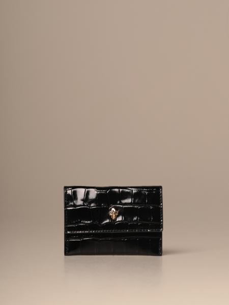 Porta carte di credito Mcq McQueen in pelle con teschio