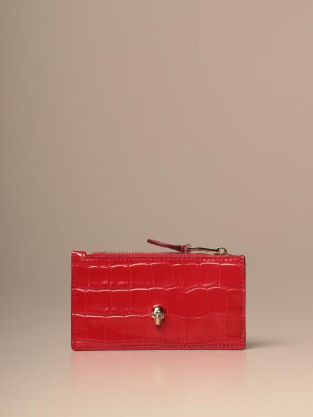 Porta carte di credito Mcq McQueen in pelle stampa cocco con teschio