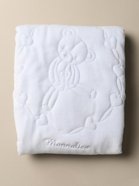 Monnalisa blanket in padded cotton with sewn teddy bear