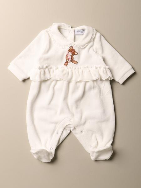 Monnalisa kids: Monnalisa footed jumpsuit in cotton with teddy bear